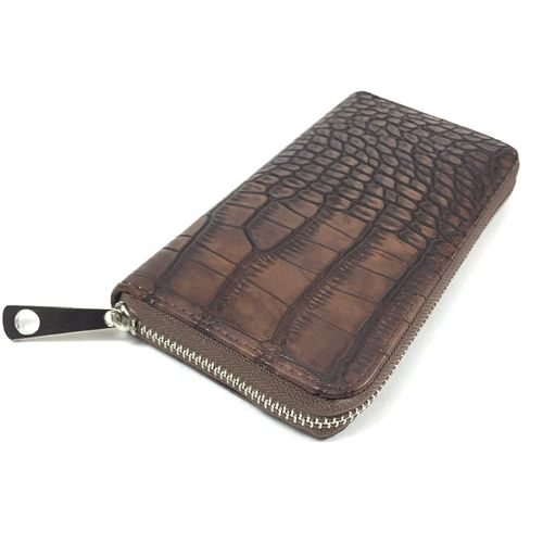 "ZIP PURSE ""KROKO braun"""