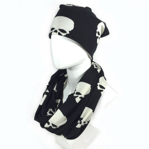 LONG BEANIE & SCHAL SET Skull