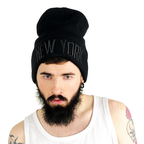 New York Beanie black/black
