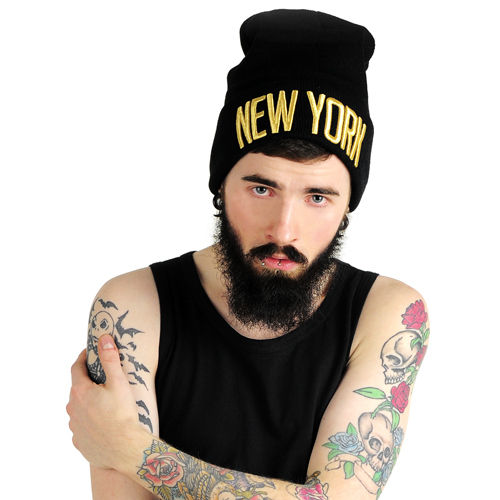 New York Beanie Gold/Black