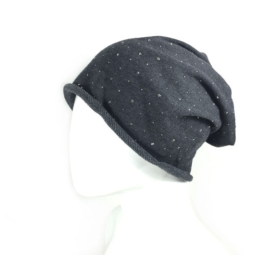 "LONG BEANIE ""STARS"" darkgrey"