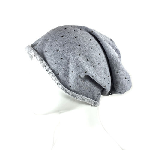 "LONG BEANIE ""STARS"" heathergrey"