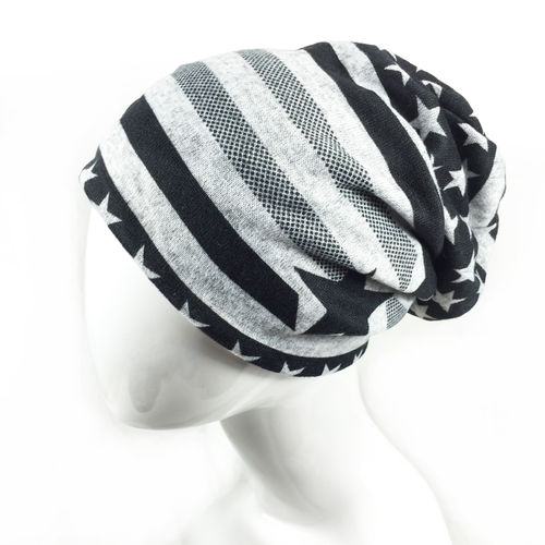 "LONG BEANIE ""STARS & STRIPES"" grey"