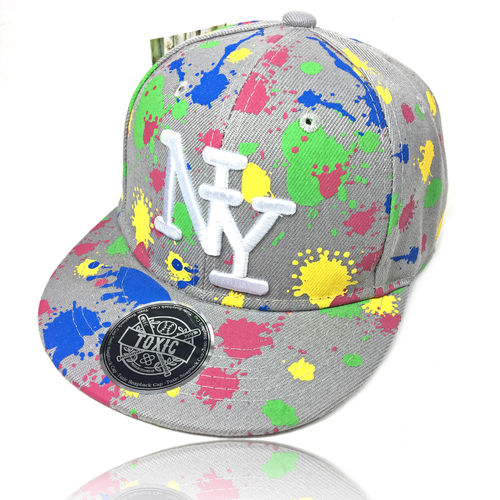 "Kinder Snapback Cap ""NEON SPLASH"" grey"