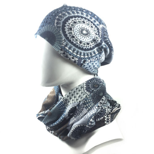 LONG BEANIE & SCHAL SET Quilt grey/blue