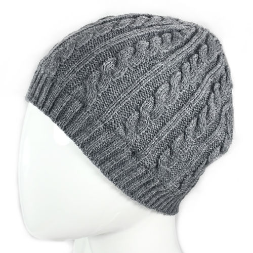 """PLAIT KNIT BEANIE"" Fleece gefüttert dunkelgrau"