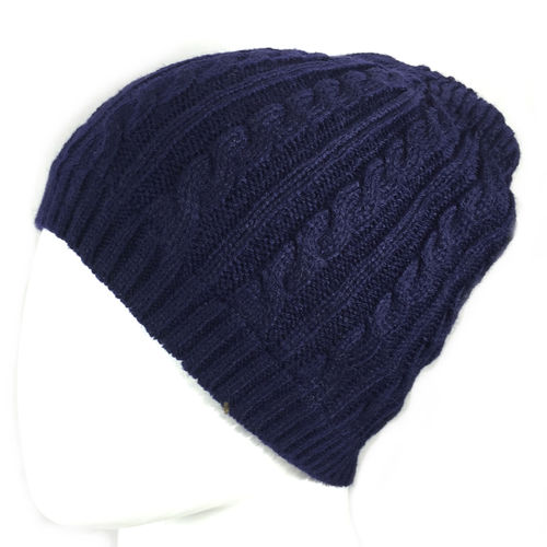 """PLAIT KNIT BEANIE"" Fleece gefüttert navy"