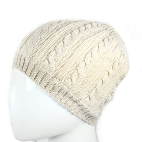 """PLAIT KNIT BEANIE"" Fleece gefüttert off white"