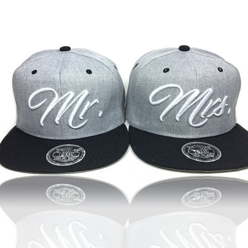SET Mr. & Mrs Partner Caps Grey/Black