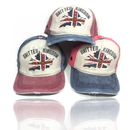 "Distressed Strapback Cap ""UNION JACK"""